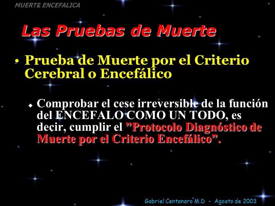 Las Pruebas de Muerte Prueba de Muerte por el Criterio Cerebral o Encefálico.