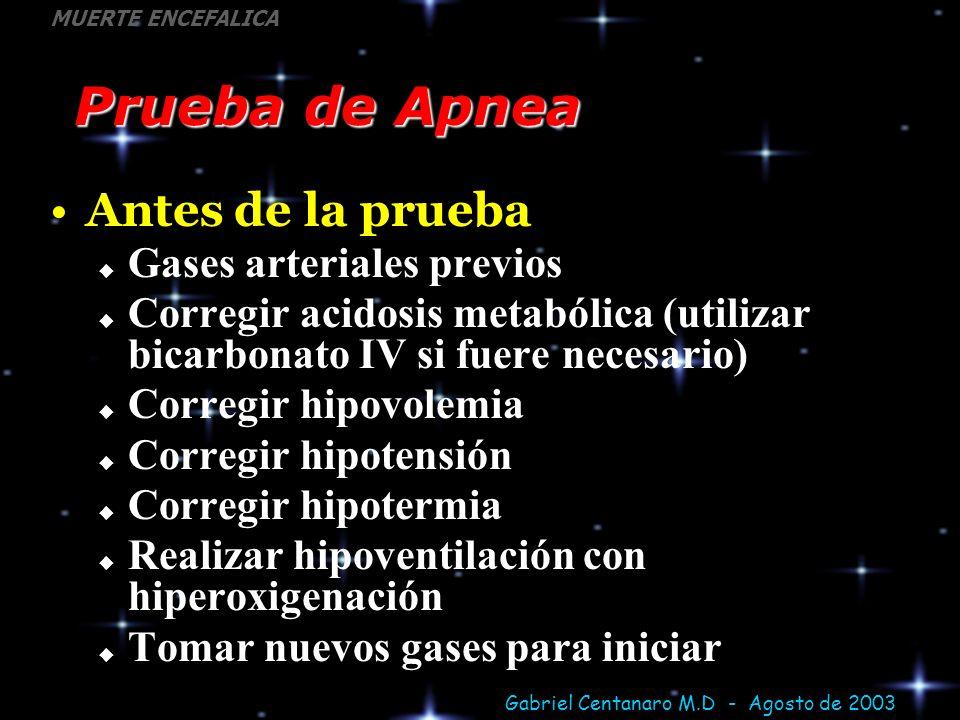 Prueba de Apnea Antes de la prueba Gases arteriales previos