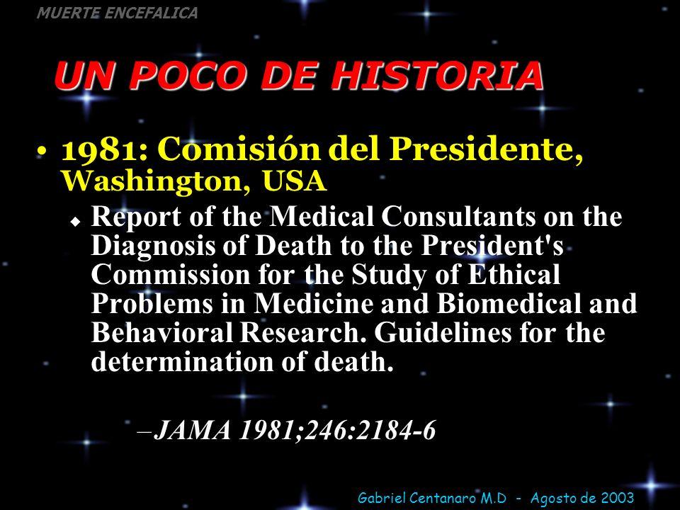 UN POCO DE HISTORIA 1981: Comisión del Presidente, Washington, USA