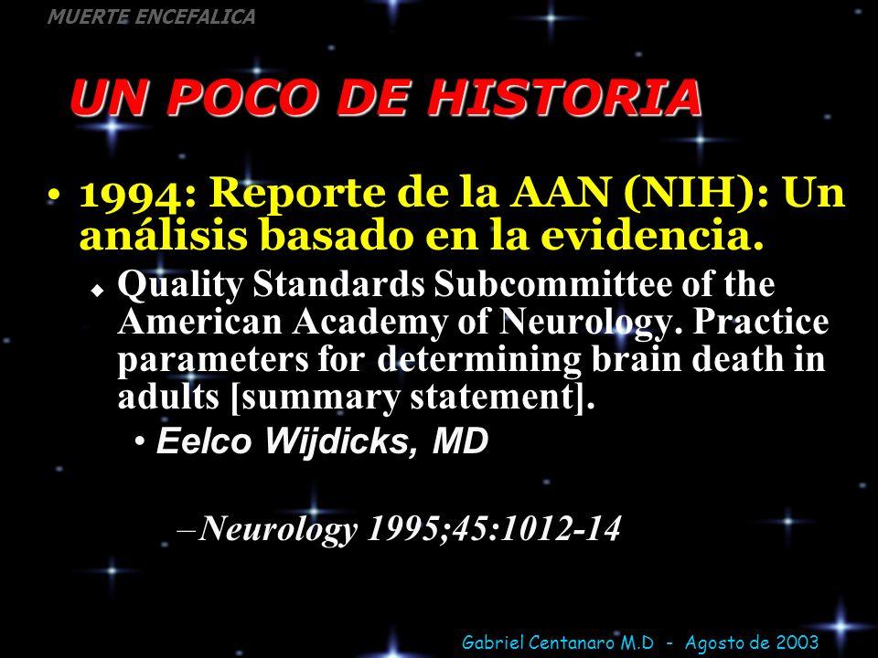 UN POCO DE HISTORIA 1994: Reporte de la AAN (NIH): Un análisis basado en la evidencia.