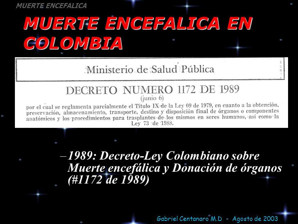 MUERTE ENCEFALICA EN COLOMBIA