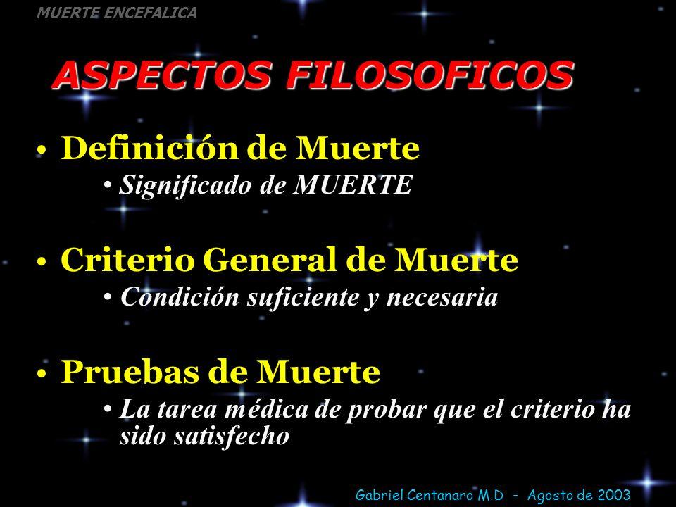 ASPECTOS FILOSOFICOS Definición de Muerte Criterio General de Muerte