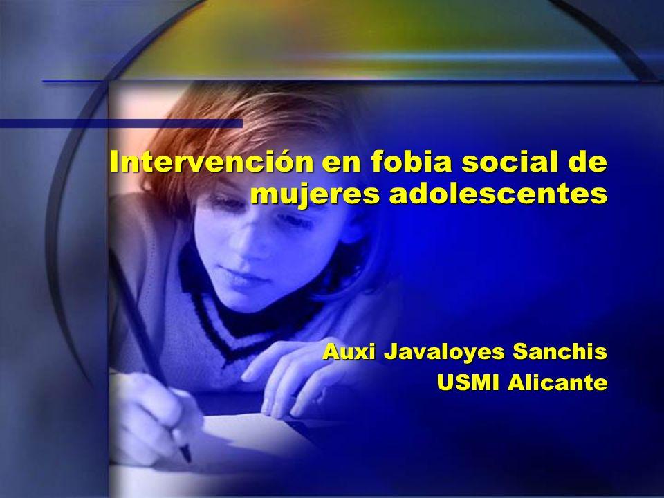 Intervención en fobia social de mujeres adolescentes