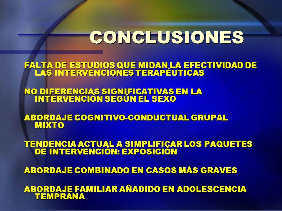 CONCLUSIONES FALTA DE ESTUDIOS QUE MIDAN LA EFECTIVIDAD DE LAS INTERVENCIONES TERAPÉUTICAS.