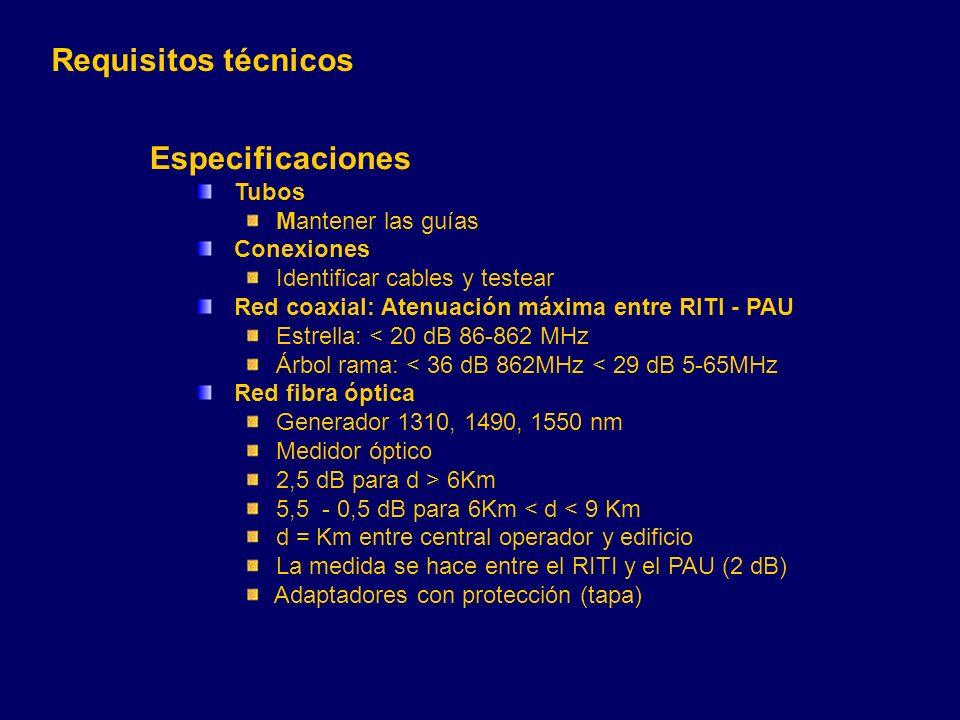 Requisitos técnicos Especificaciones Tubos Mantener las guías