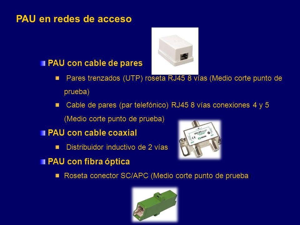 PAU en redes de acceso PAU con cable de pares PAU con cable coaxial