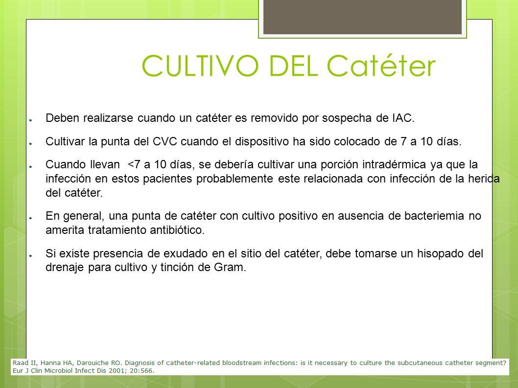 CULTIVO DEL Catéter Deben realizarse cuando un catéter es removido por sospecha de IAC.