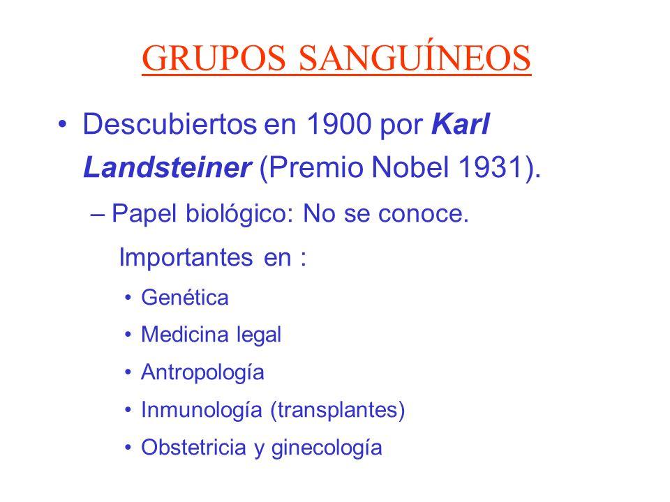 GRUPOS SANGUÍNEOS Descubiertos en 1900 por Karl Landsteiner (Premio Nobel 1931). Papel biológico: No se conoce.