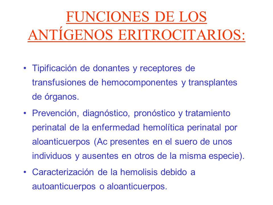 FUNCIONES DE LOS ANTÍGENOS ERITROCITARIOS: