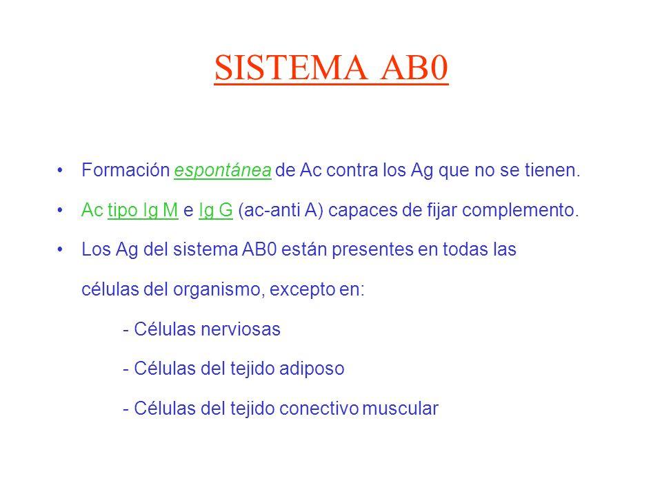SISTEMA AB0 Formación espontánea de Ac contra los Ag que no se tienen.