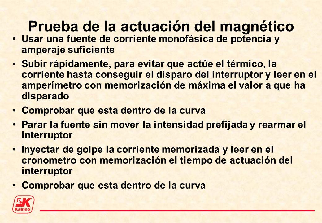 Prueba de la actuación del magnético