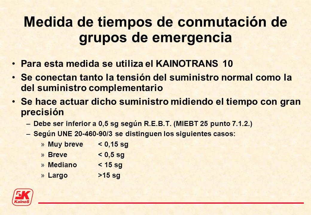 Medida de tiempos de conmutación de grupos de emergencia