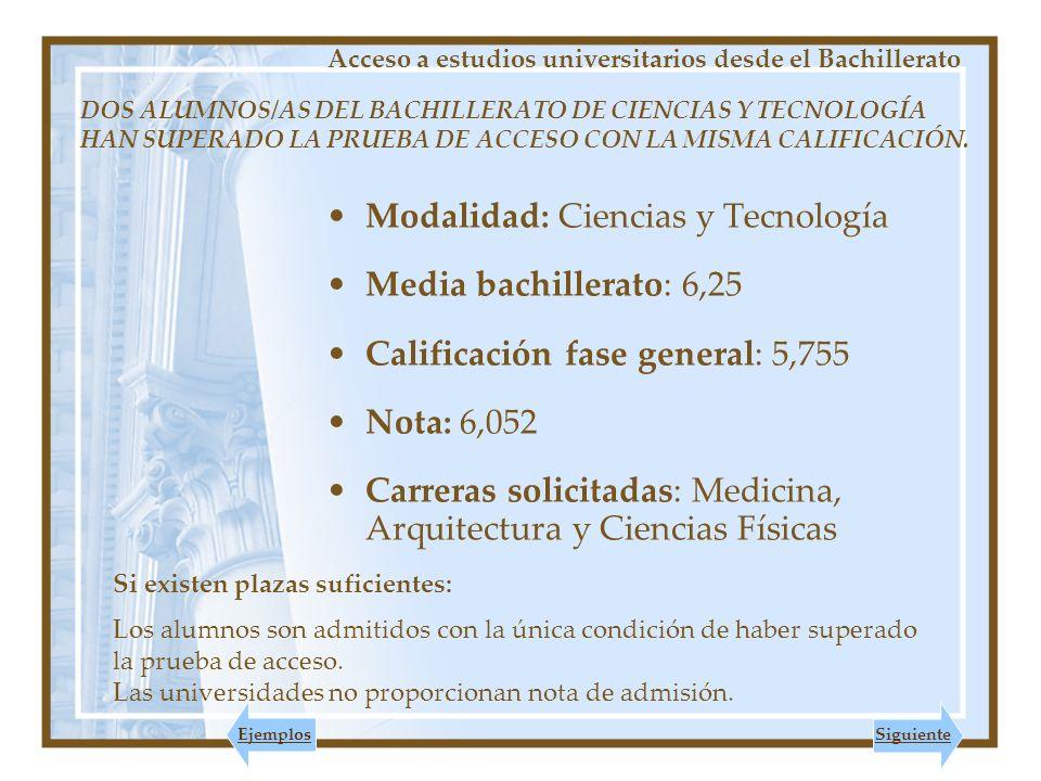 Modalidad: Ciencias y Tecnología Media bachillerato: 6,25