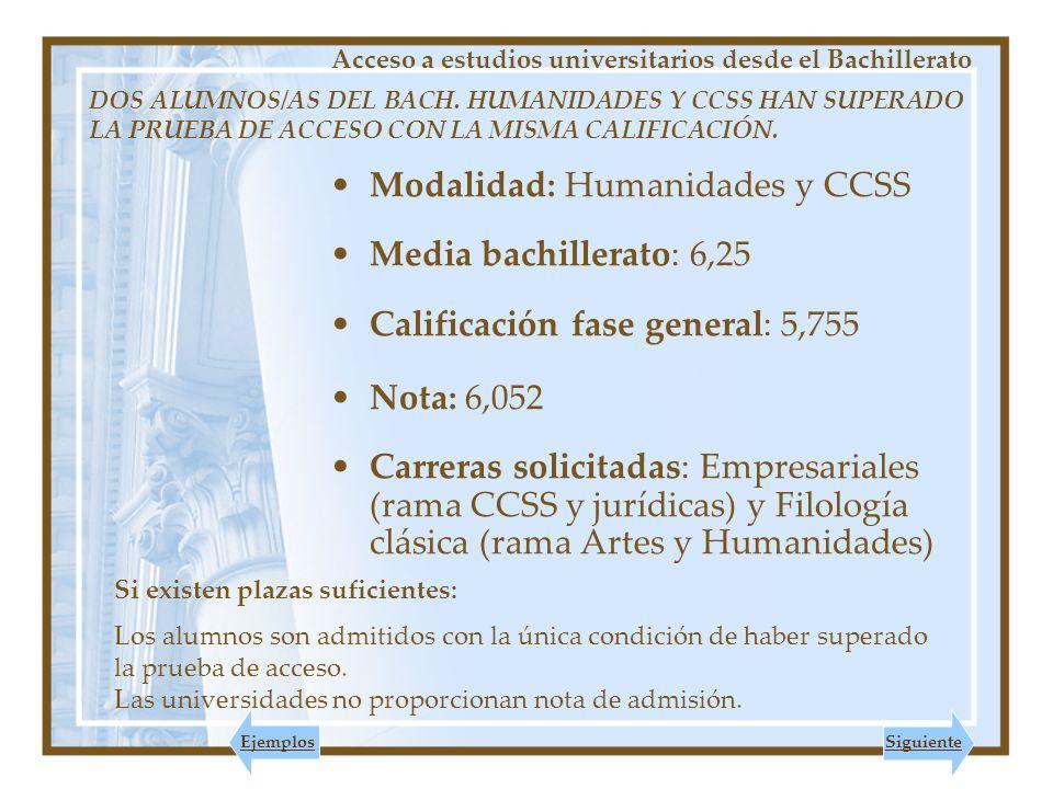 Modalidad: Humanidades y CCSS Media bachillerato: 6,25