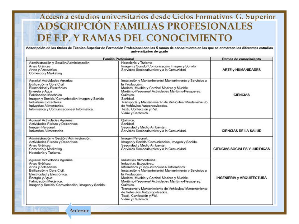 ADSCRIPCIÓN FAMILIAS PROFESIONALES DE F.P. Y RAMAS DEL CONOCIMIENTO