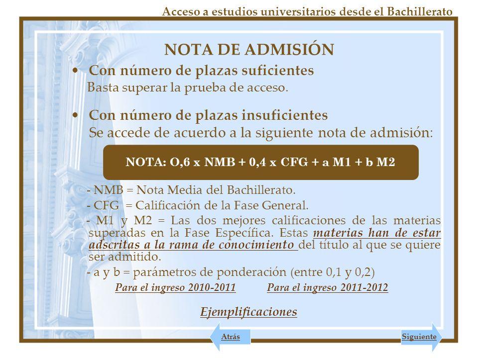 NOTA: O,6 x NMB + 0,4 x CFG + a M1 + b M2