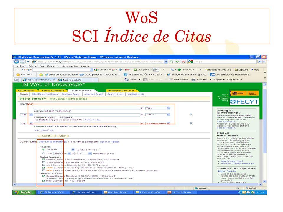 WoS SCI Índice de Citas