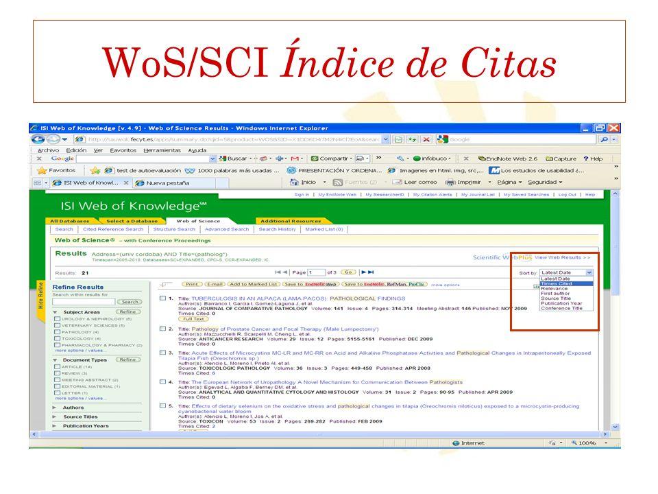 WoS/SCI Índice de Citas