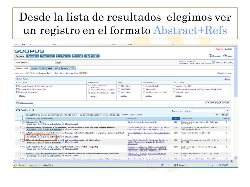 Desde la lista de resultados elegimos ver un registro en el formato Abstract+Refs