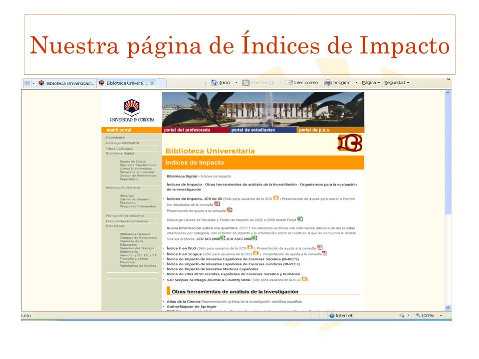 Nuestra página de Índices de Impacto