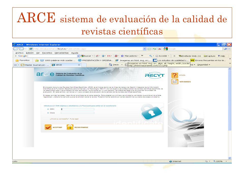ARCE sistema de evaluación de la calidad de revistas científicas