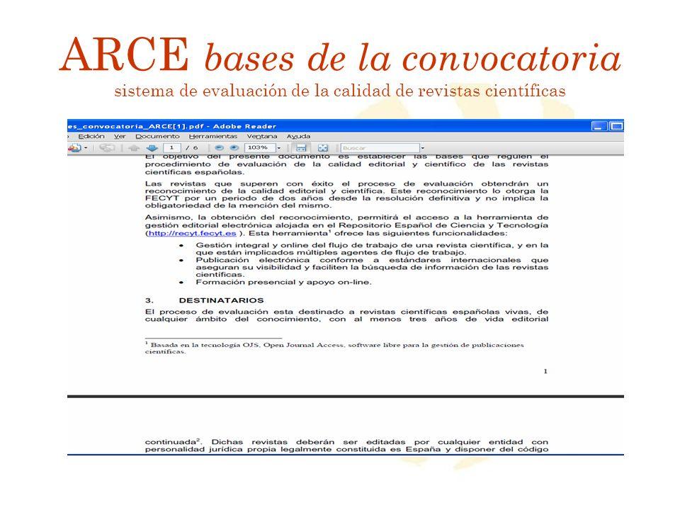 ARCE bases de la convocatoria sistema de evaluación de la calidad de revistas científicas