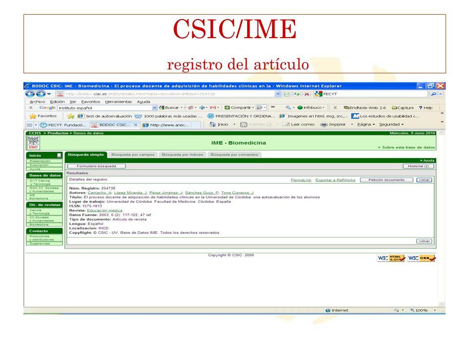 CSIC/IME registro del artículo