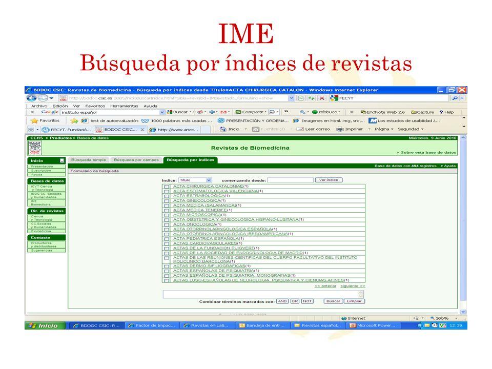 IME Búsqueda por índices de revistas