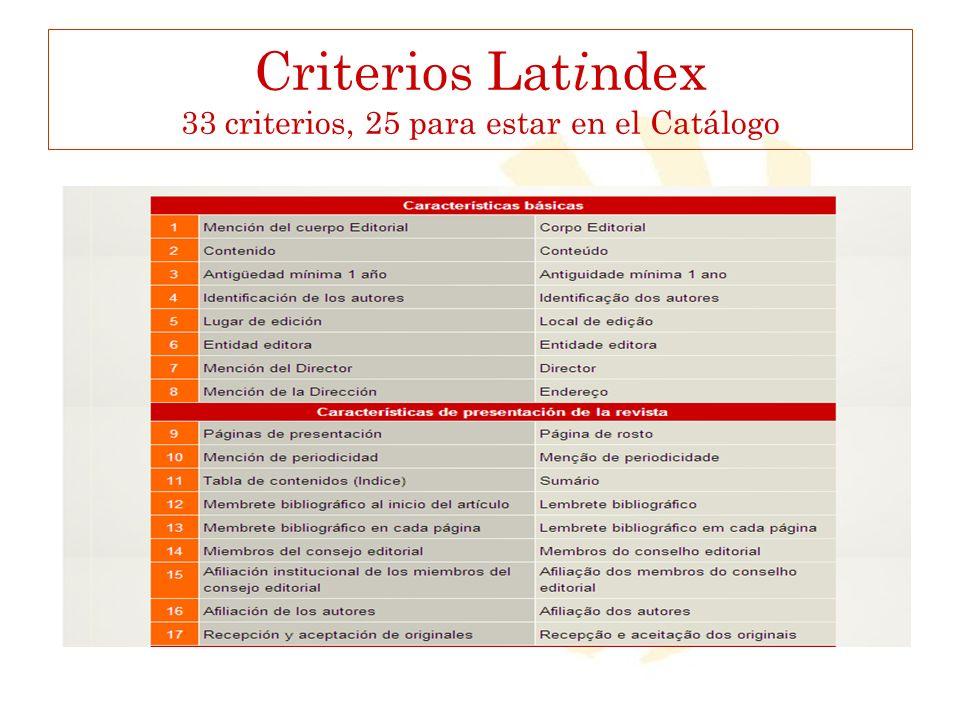 Criterios Latindex 33 criterios, 25 para estar en el Catálogo