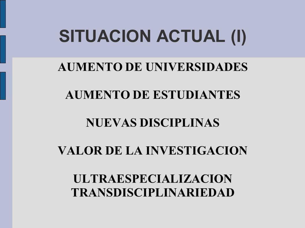 SITUACION ACTUAL (I) AUMENTO DE UNIVERSIDADES AUMENTO DE ESTUDIANTES
