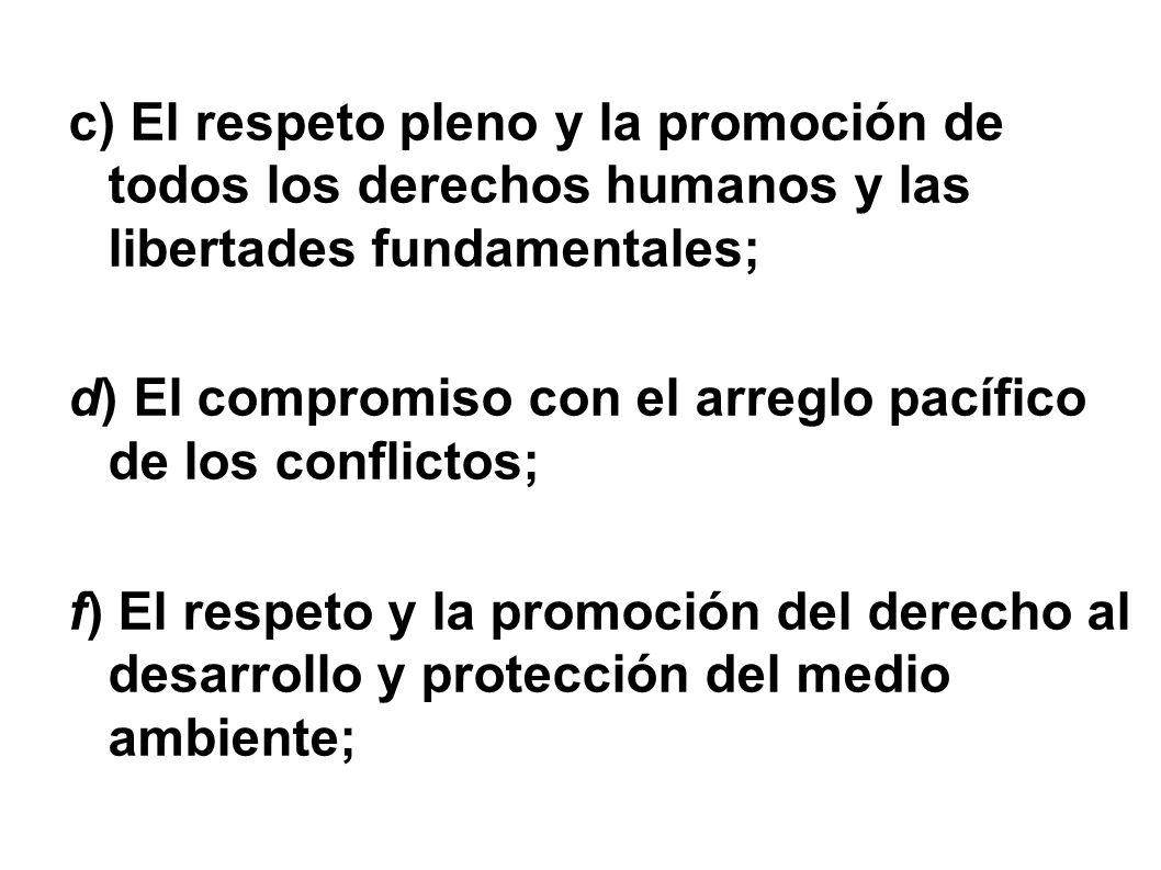 c) El respeto pleno y la promoción de todos los derechos humanos y las libertades fundamentales;