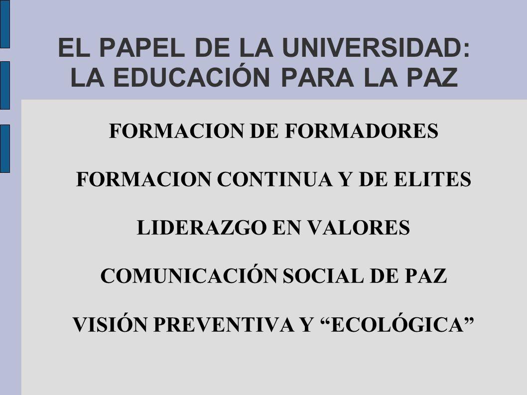 EL PAPEL DE LA UNIVERSIDAD: LA EDUCACIÓN PARA LA PAZ
