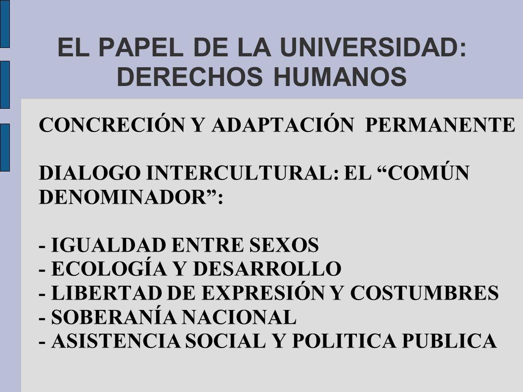 EL PAPEL DE LA UNIVERSIDAD: DERECHOS HUMANOS