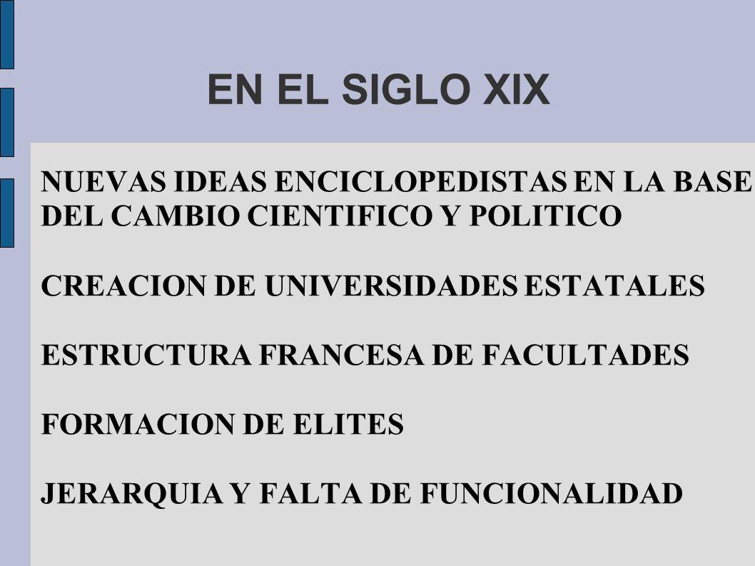 EN EL SIGLO XIX NUEVAS IDEAS ENCICLOPEDISTAS EN LA BASE DEL CAMBIO CIENTIFICO Y POLITICO. CREACION DE UNIVERSIDADES ESTATALES.