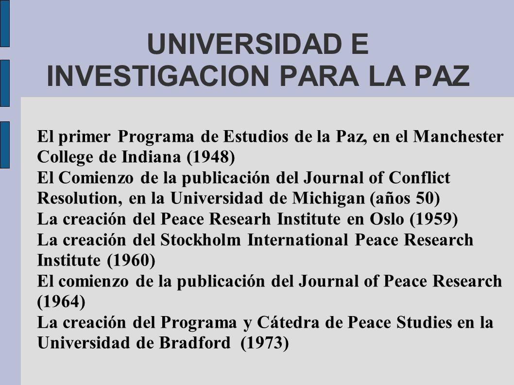 UNIVERSIDAD E INVESTIGACION PARA LA PAZ