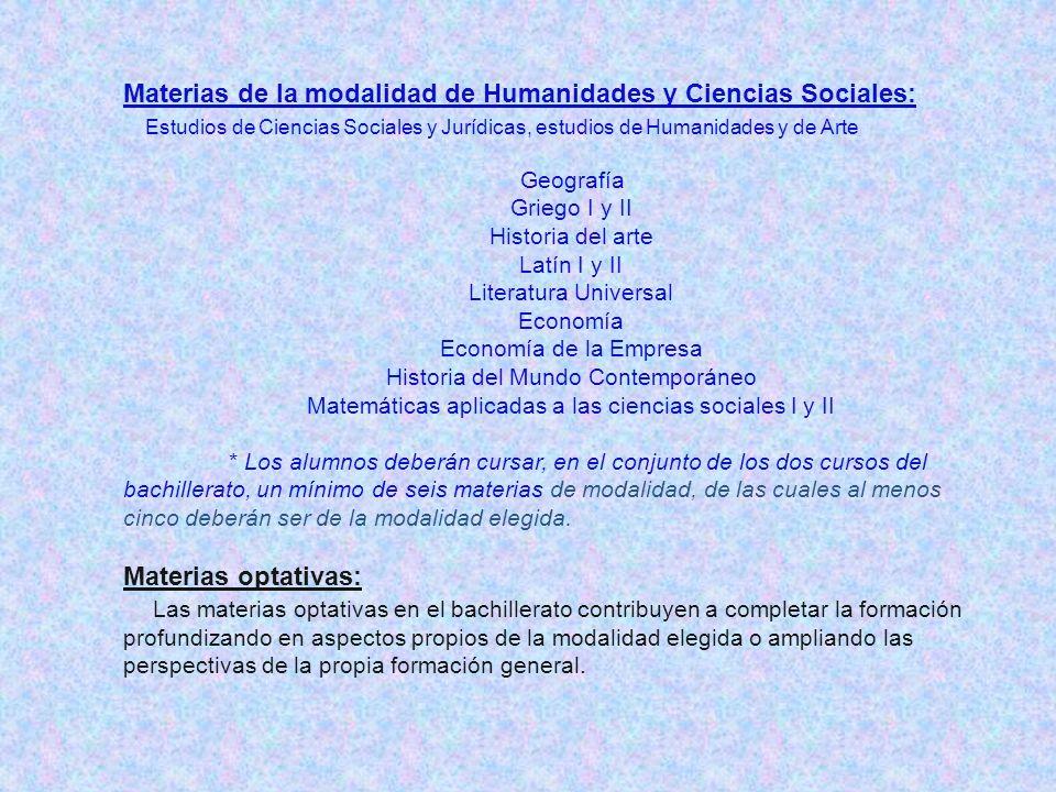 Materias de la modalidad de Humanidades y Ciencias Sociales: Estudios de Ciencias Sociales y Jurídicas, estudios de Humanidades y de Arte