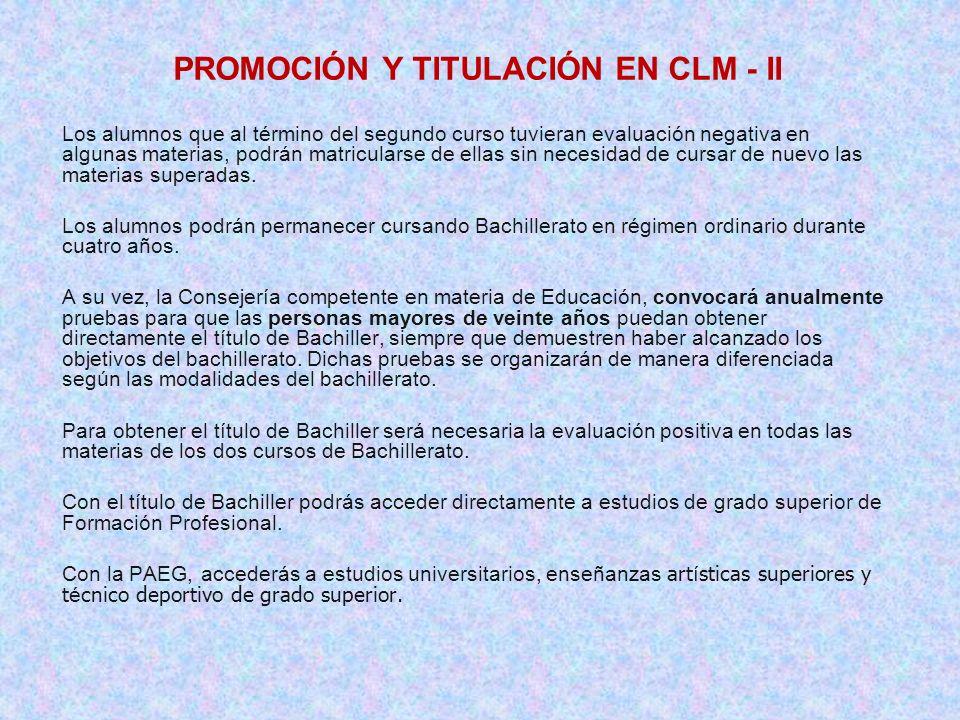 PROMOCIÓN Y TITULACIÓN EN CLM - II