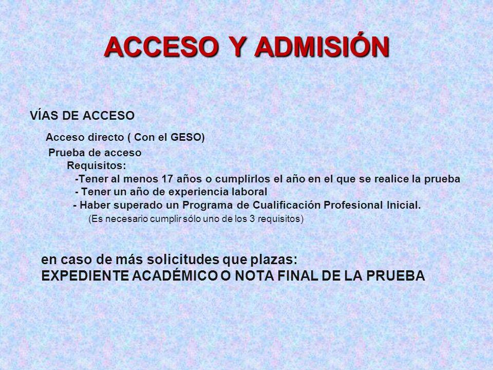 ACCESO Y ADMISIÓN Acceso directo ( Con el GESO)