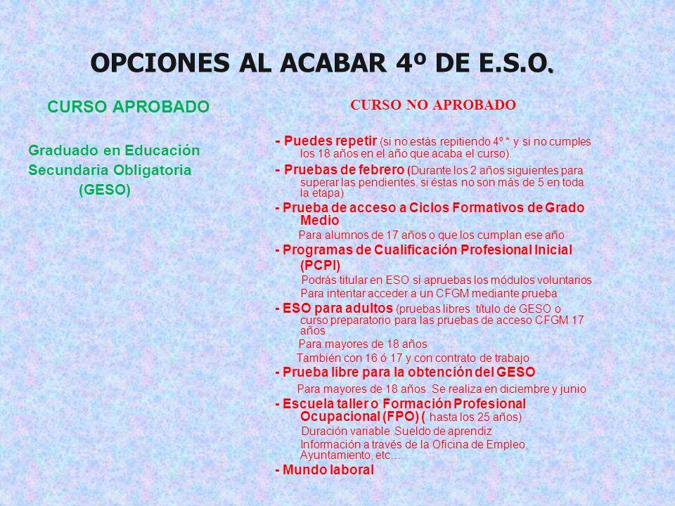 OPCIONES AL ACABAR 4º DE E.S.O.