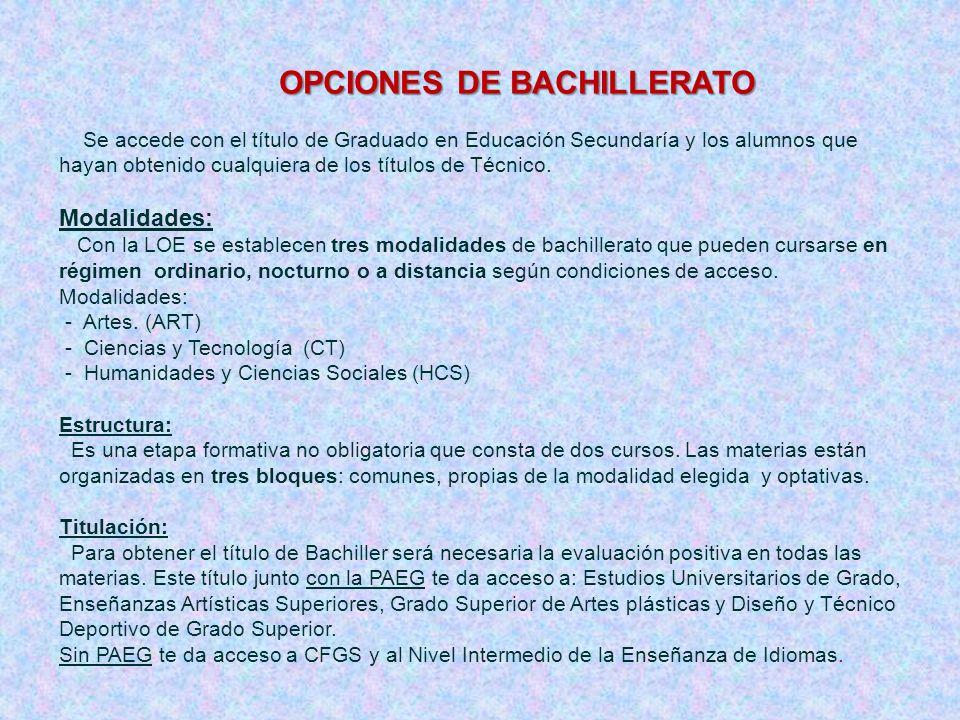 OPCIONES DE BACHILLERATO