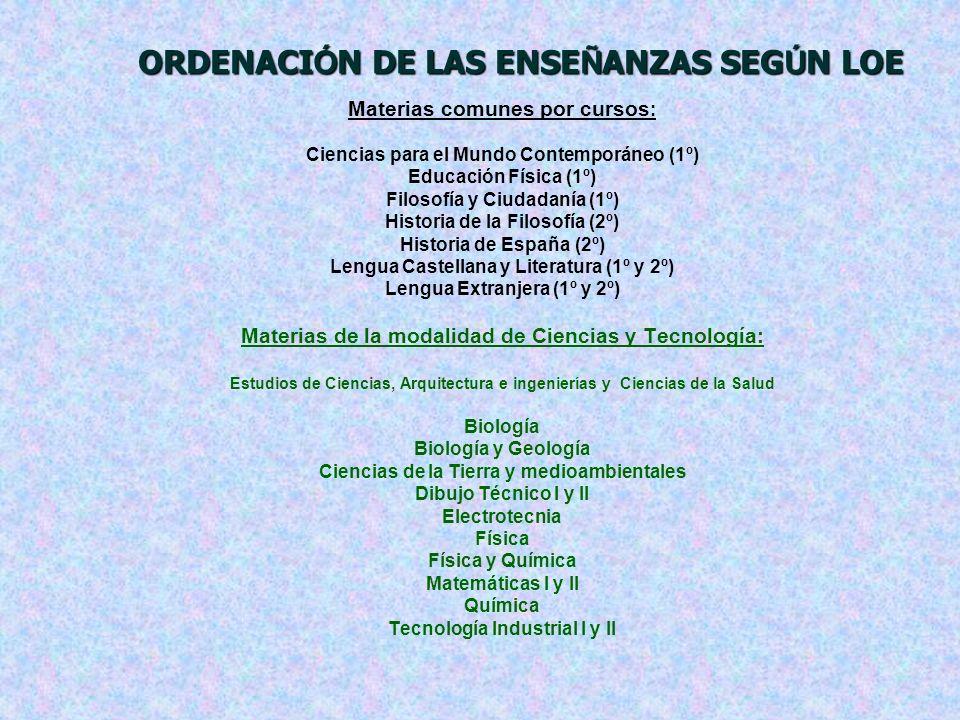 ORDENACIÓN DE LAS ENSEÑANZAS SEGÚN LOE