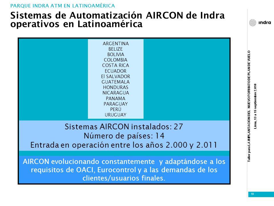 Sistemas de Automatización AIRCON de Indra operativos en Latinoamérica