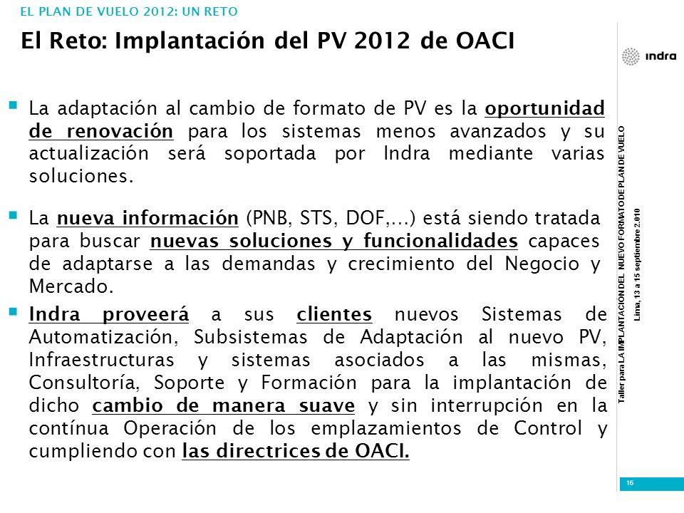 El Reto: Implantación del PV 2012 de OACI