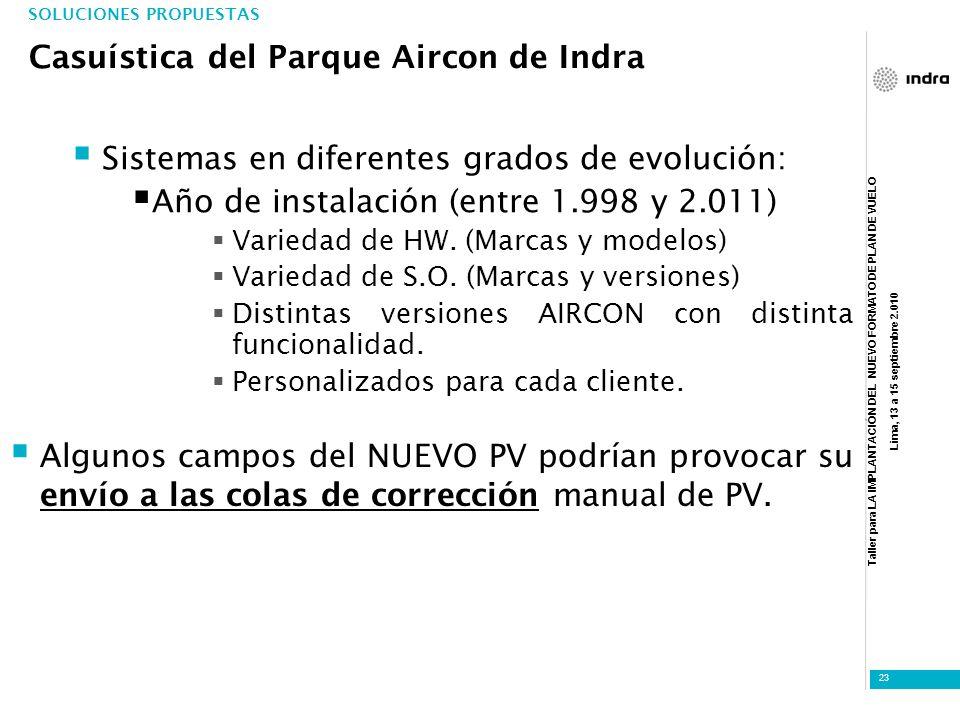 Casuística del Parque Aircon de Indra