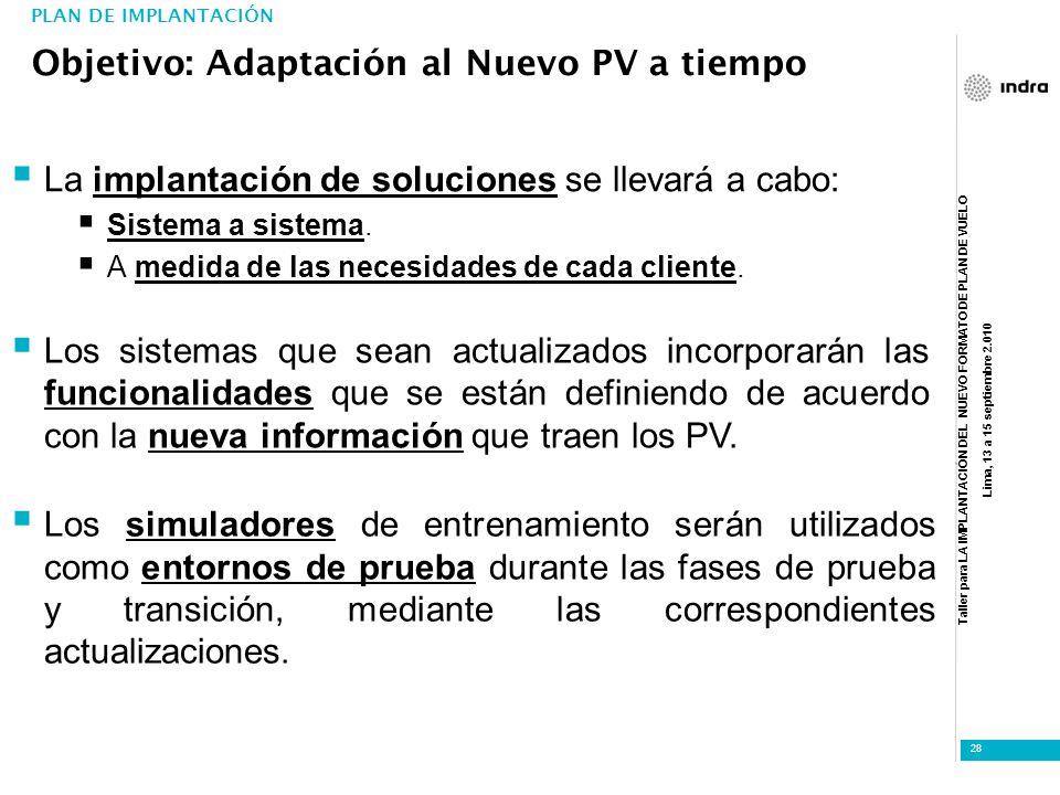 Objetivo: Adaptación al Nuevo PV a tiempo