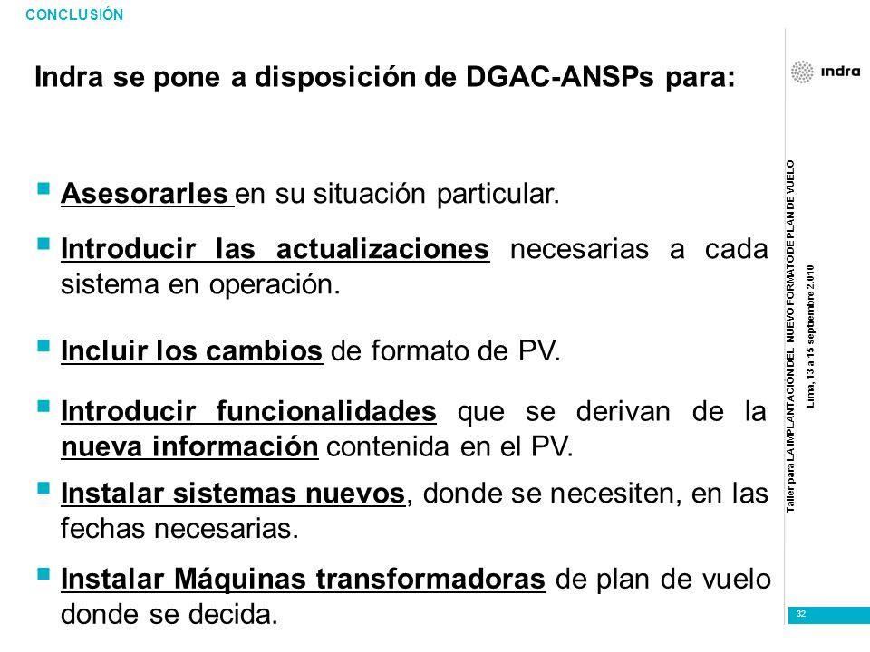Indra se pone a disposición de DGAC-ANSPs para: