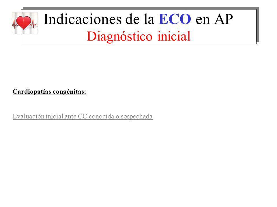 Indicaciones de la ECO en AP Diagnóstico inicial