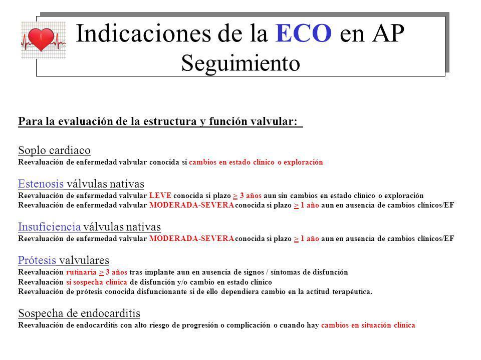 Indicaciones de la ECO en AP Seguimiento