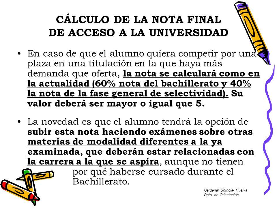 CÁLCULO DE LA NOTA FINAL DE ACCESO A LA UNIVERSIDAD