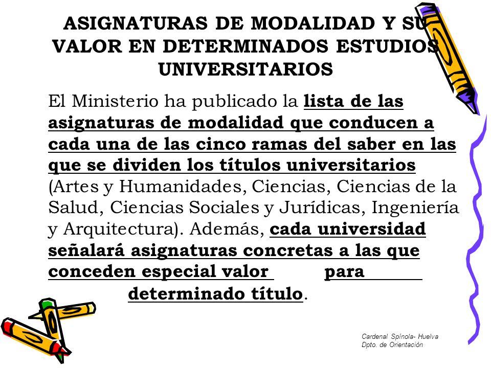 ASIGNATURAS DE MODALIDAD Y SU VALOR EN DETERMINADOS ESTUDIOS UNIVERSITARIOS
